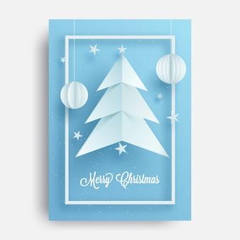 Design de cartão com ilustração da árvore de natal e chinês