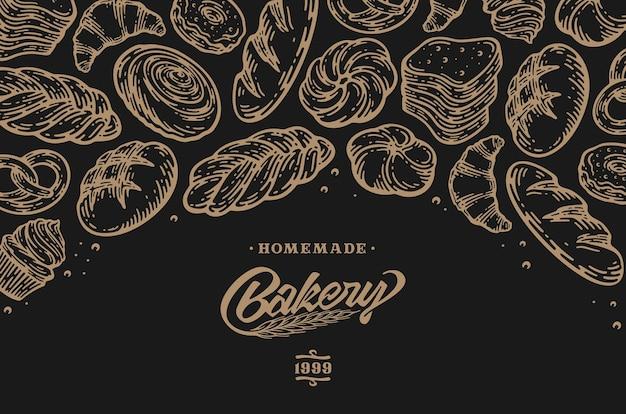 Design de cartão com ilustração de cozimento de mão desenhada de tinta. modelo vintage com esboço de doodle de pão e bolos. em fundo escuro