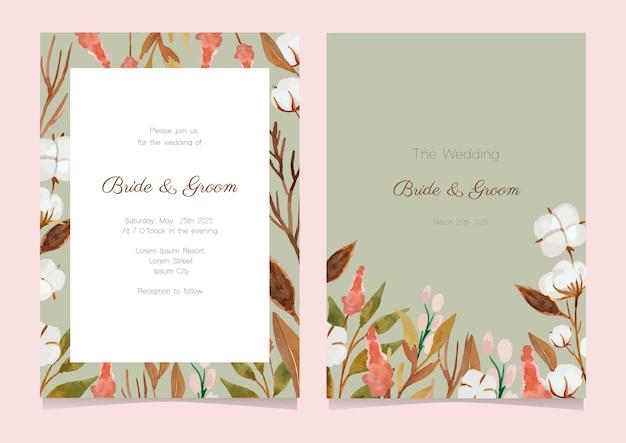 Design de cartão com ilustração de flores em aquarela de algodão