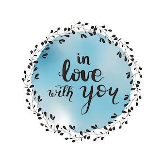 Design de cartão com letras apaixonado por você. ilustração do vetor.