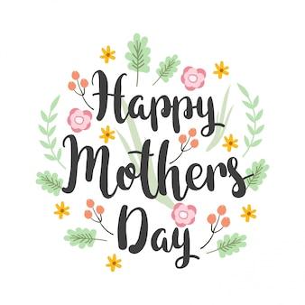 Design de cartão com letras do dia das mães