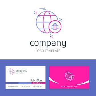 Design de cartão com vetor de design de logotipo de segurança cibernética