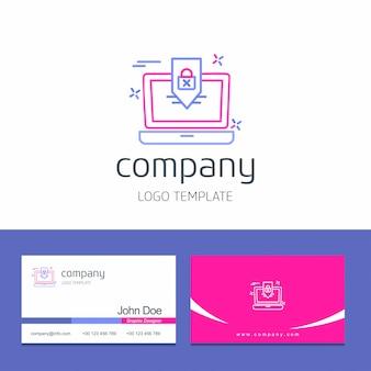 Design de cartão com vetor de logotipo de empresa de segurança cibernética