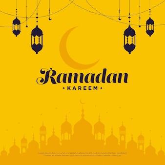 Design de cartão comemorativo do festival ramadan kareem