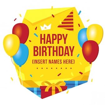 Design de cartão de aniversário colorido brilhante