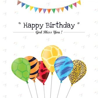 Design de cartão de aniversário colorido.