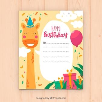 Design de cartão de aniversário com girafa