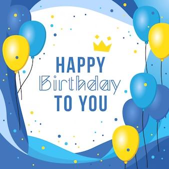 Design de cartão de aniversário com tema azul
