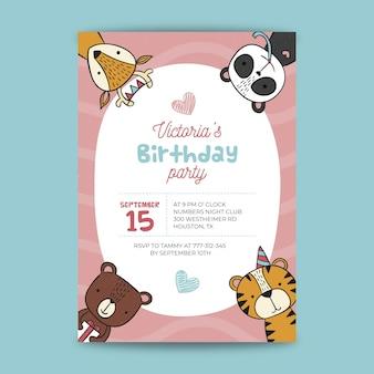 Design de cartão de aniversário infantil