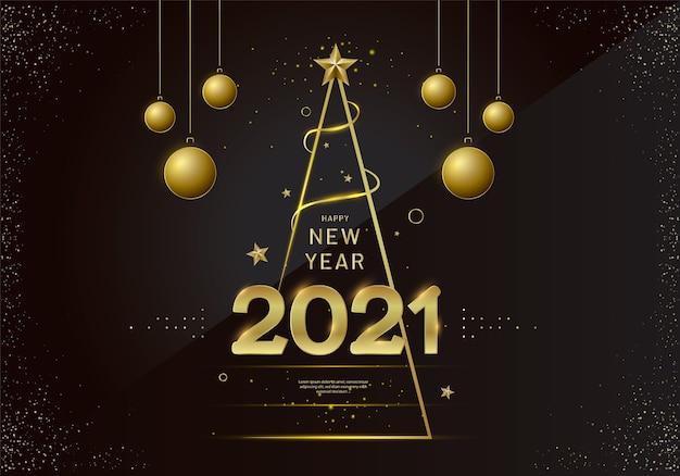 Design de cartão de ano novo com árvore de natal estilizada, bola e decorações.