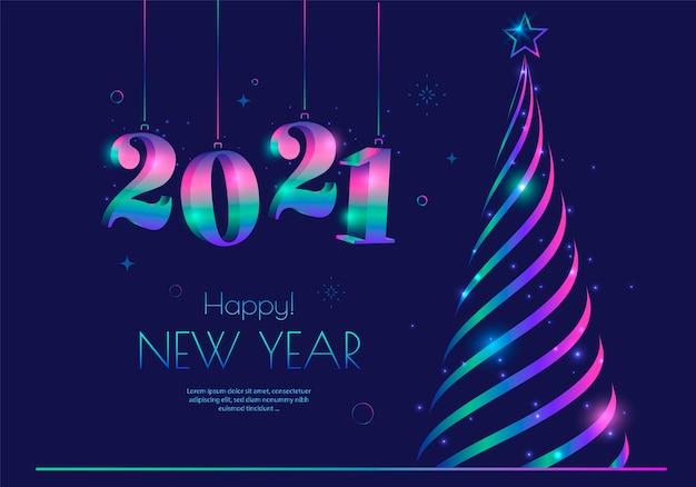 Design de cartão de ano novo com árvore de natal estilizada e tipografia de 2021 números.