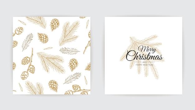 Design de cartão de ano novo com árvore de natal.