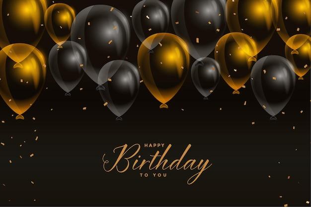 Design de cartão de balões de feliz aniversário em preto e dourado