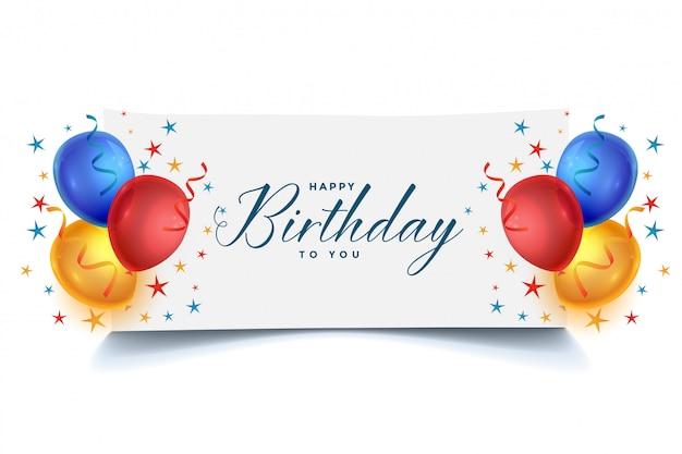 Design de cartão de balões de feliz aniversário