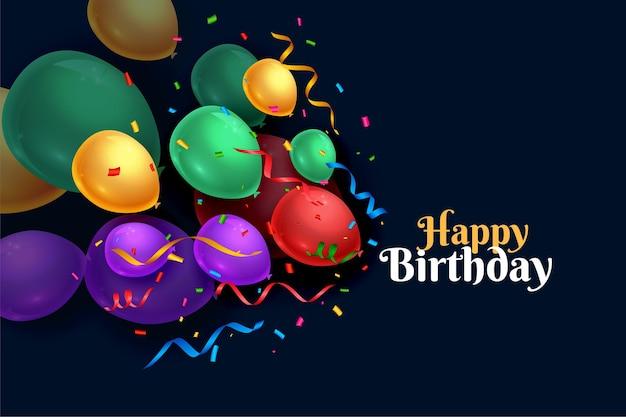 Design de cartão de balões realistas de feliz aniversário