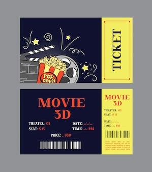 Design de cartão de bilhete de cinema.
