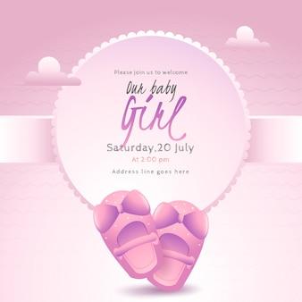 Design de cartão de cartaz ou convite com sapatos de bebê e evento detai