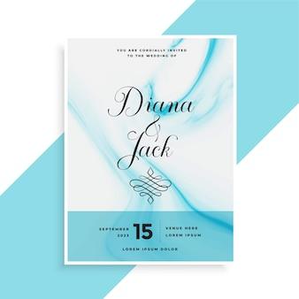 Design de cartão de casamento azul atraente com textura marbel
