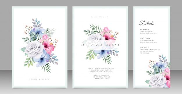 Design de cartão de casamento buquê floral