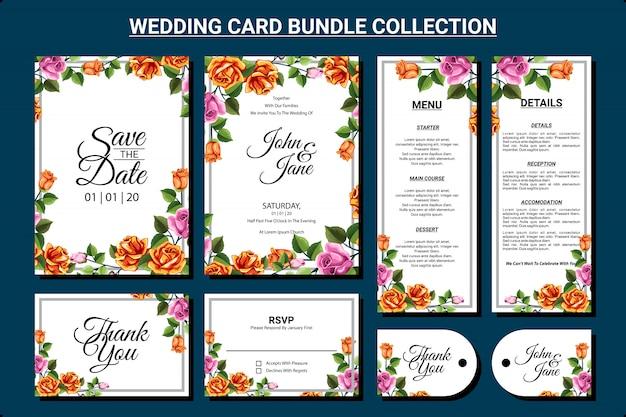 Design de cartão de casamento com conjunto de coleta de pacote de ornamento floral