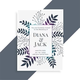Design de cartão de casamento com decoração de folhas