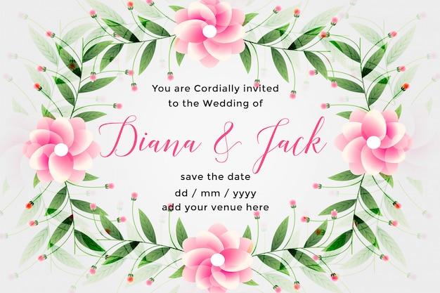 Design de cartão de casamento com decoração linda flor