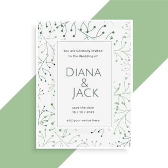 Design de cartão de casamento com folhas elegantes