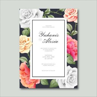 Design de cartão de casamento com linda aquarela floral