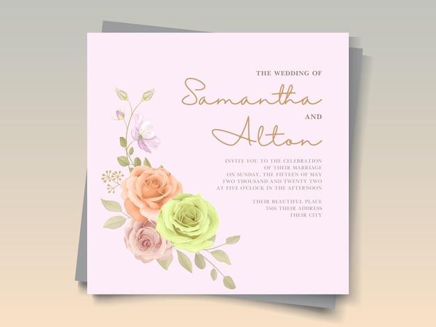 Design de cartão de casamento com lindas rosas