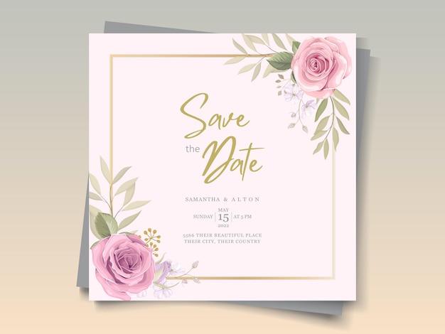 Design de cartão de casamento com lindos enfeites florais desabrochando