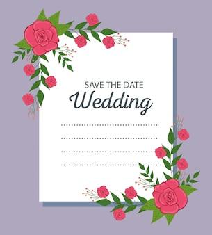 Design de cartão de casamento com rosas e ramos de folhas