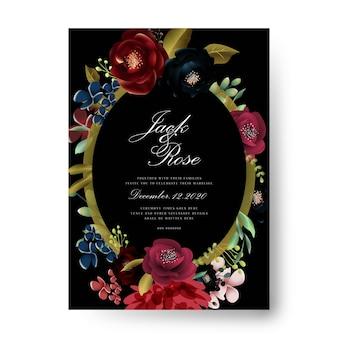 Design de cartão de casamento de ouro borgonha