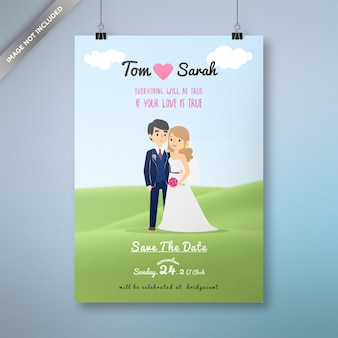 Design de cartão de casamento dos desenhos animados