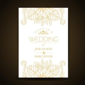 Design de cartão de casamento dourado