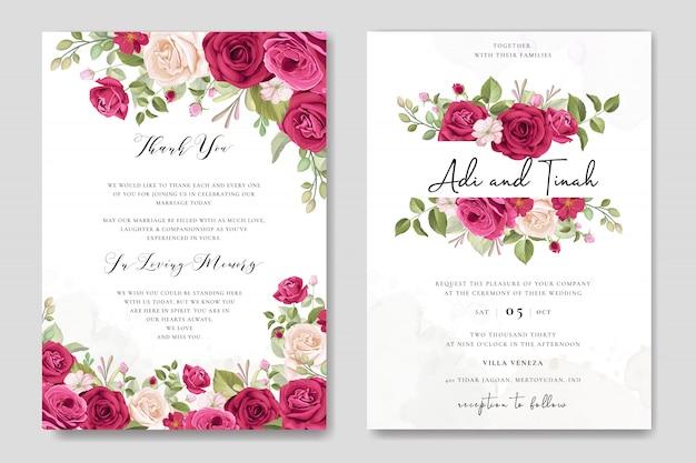 Design de cartão de casamento elegante com modelo de grinalda de lindas rosas