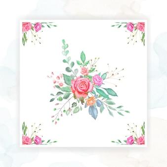 Design de cartão de casamento em aquarela