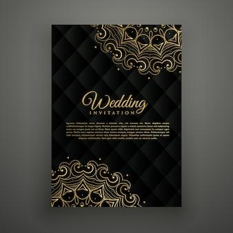 Design de cartão de casamento em estilo mandala