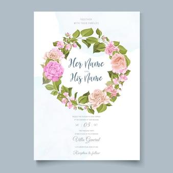 Design de cartão de casamento floral elegante