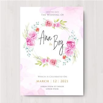 Design de cartão de casamento floral lindo