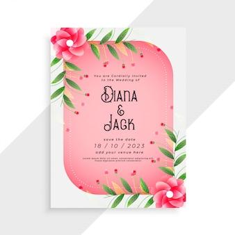 Design de cartão de casamento lindo com elementos de flor