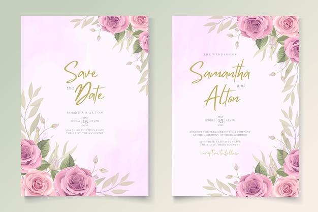 Design de cartão de casamento moderno com rosas cor de rosa