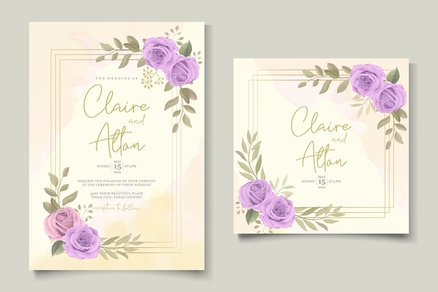 Design de cartão de casamento moderno com rosas roxas