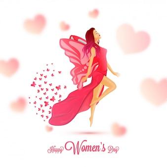 Design de cartão de celebração de dia feliz feminino