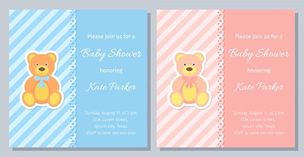 Design de cartão de chuveiro de bebê. ilustração. convite de modelo de aniversário.