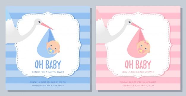 Design de cartão de chuveiro de bebê. ilustração. menino, banner de convite de menina.
