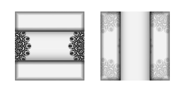 Design de cartão de convite com espaço para o seu texto e enfeites pretos.