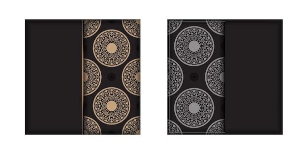 Design de cartão de convite com espaço para o seu texto e ornamentos vintage. design luxuoso de um postal a preto com motivos gregos.