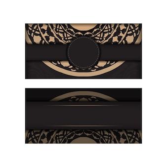 Design de cartão de convite com espaço para o seu texto e padrões vintage. vector luxuoso pronto para imprimir cartão de cor preta design com padrões gregos.