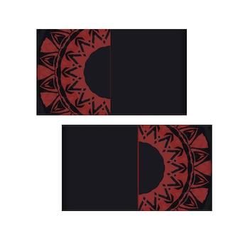 Design de cartão de convite com espaço para seu texto e padrões abstratos. design luxuoso de um postal na cor preta com um ornamento grego vermelho.
