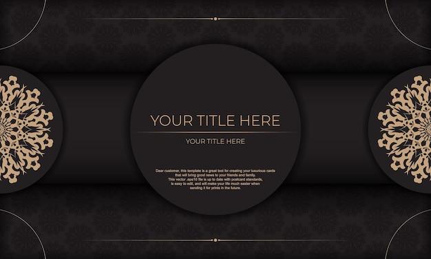 Design de cartão de convite com ornamentos vintage. fundo preto apresentável com luxuosos ornamentos vintage e lugar para o seu texto.